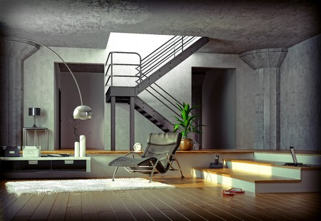 vizualisation:  computer generated 3D image of the modern loft at sunset time