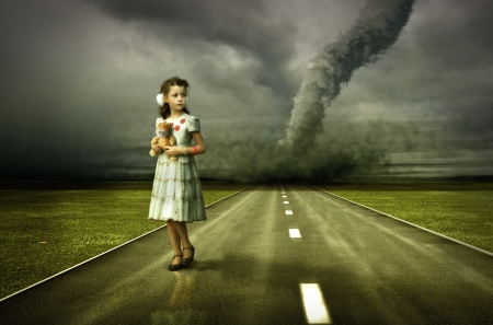 scared girl: little girl large tornado over the road ( photo and hand-drawing elements combined. The grain and texture added. ) Stock Photo