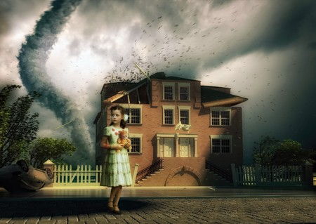 teaming: tornado and little girl near the house ( photo,3D and hand-drawing elements combined)
