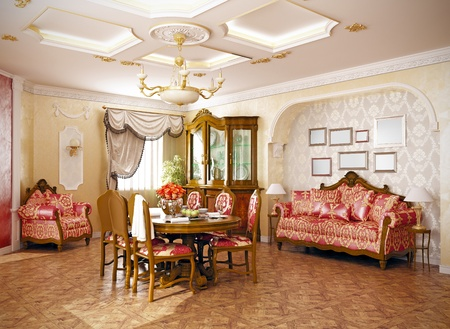 vintage mansion: luxury  classic -style interior of living room (3D rendering)