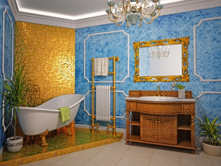 classic style bathroom interior (3D rendering)