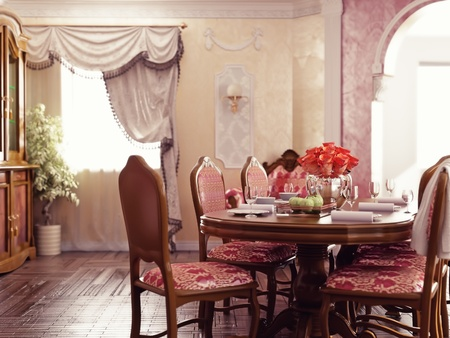 classic style dinner room interior (3d rendering) photo