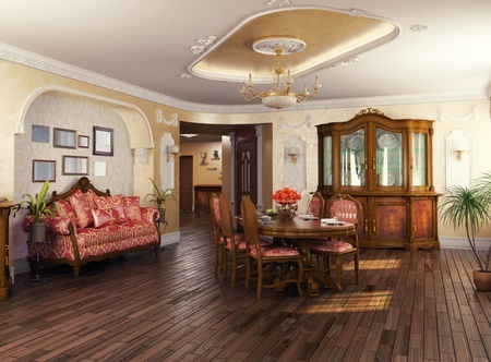 manor: luxury classic - style interior of living room (3D rendering)