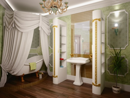 classic style luxury bathroom interior (3D rendering) Stock Photo - 8507874