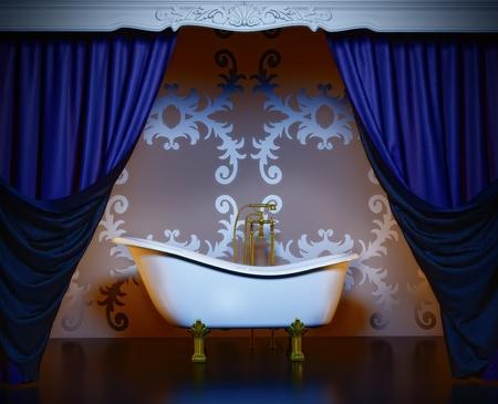 classic style luxury bathroom interior (3D rendering) photo