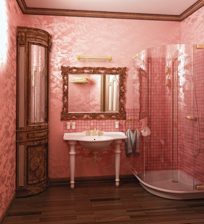 luxury pink coloured bathroom interior (3d rendering) photo