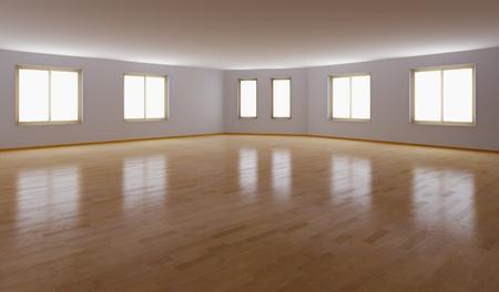 court room: empty interior with parquet floor (3D rendering) Stock Photo