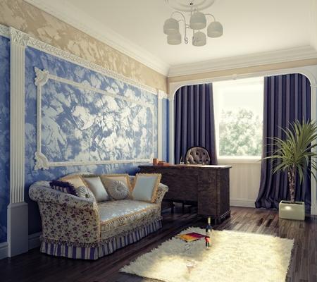 modern cabinet interior (3d rendering)