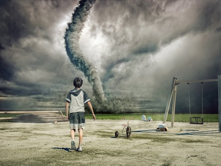 approaching: boy and approaching tornado (photo and hand-drawing elements combined)