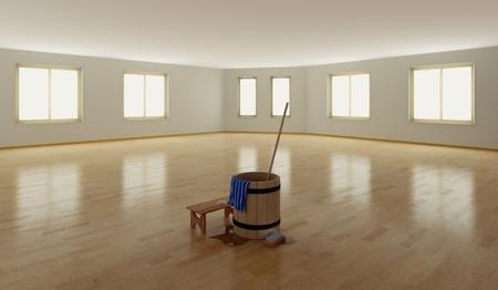 madeira de lei: washing equipment  on the parquet floor indoor (3D rendering)