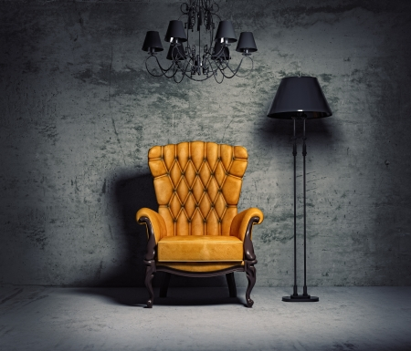 messy room: luxury armchair in grunge interior (3D rendering)  Stock Photo