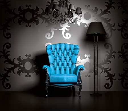 chairs: 3D interior scene with blue classic armchair and lamp. Stock Photo