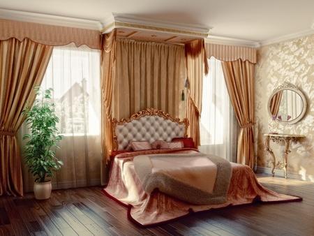 cortinas: interior de dormitorio moderno estilo cl�sico (representaci�n 3D)