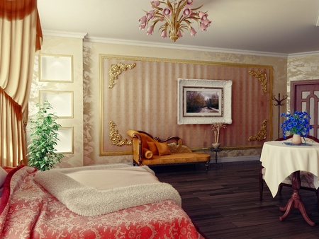 classic style modern bedroom interior (3D rendering)  photo