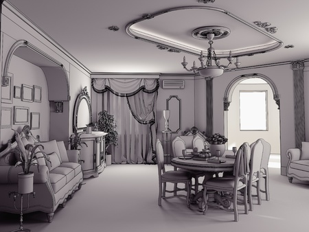 living room design: sketch style classik interior illustration (stage of interior indoor project)
