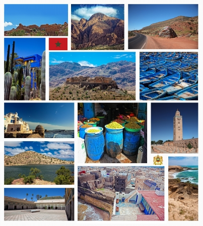 marrakesh: Collage di immagini di paesaggio Marocco - natura e sfondo di viaggio  Archivio Fotografico