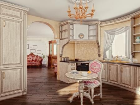 interior decorating: luxury kitchen interior (3D rendering)