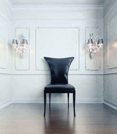 black chair in vintage style interior(3D rendering) photo