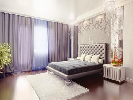 curtain design: interni di camera da letto di lusso moderno (rendering 3D) Archivio Fotografico