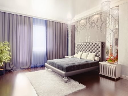 modern luxury  bedroom interior (3D rendering) Stock Photo
