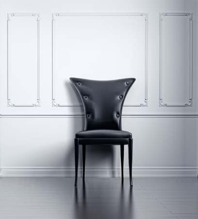 black vintage chair in white room (3D rendering) Stock Photo - 9486832