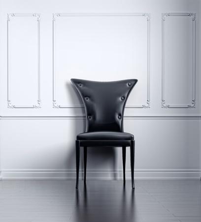 black vintage chair in white room (3D rendering) Stock Photo - 9486832