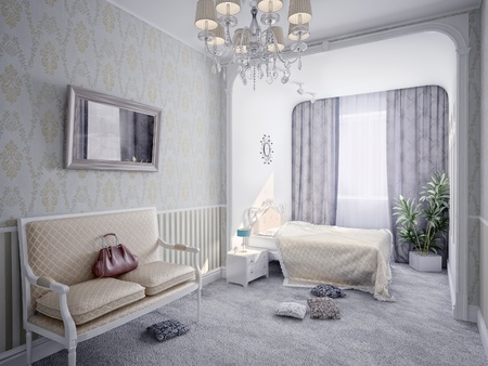 modern luxury  bedroom interior (3D rendering) photo