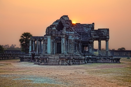 sunset  photo Angkor Wat - ancient Khmer temple in Cambodia.  photo