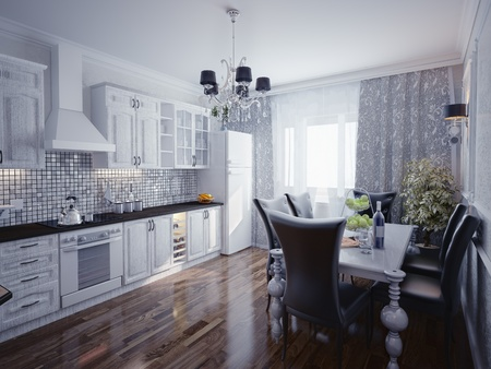 kitchen illustration: modern kitchen interior 3d rendering  Stock Photo