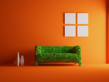 Modern sofa covered with bright green grass. Healthy lifestyle concept. (3d rendered. ) photo