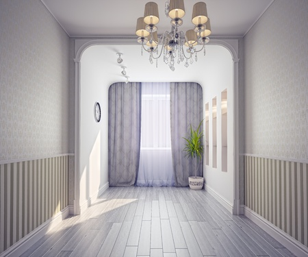 stucco house: empty modern interior (3d rendering)