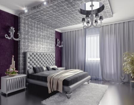 curtain design: camera stile moderno interior 3d rendering (DOF efffect)