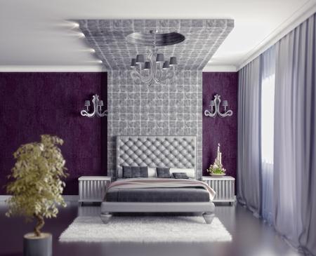 modern style bedroom inter 3d render (DOF efffect) Stock Photo - 9863011