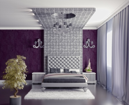 bedroom interior: modern style bedroom interior 3d render (DOF efffect)