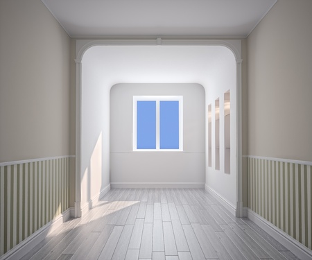 stucco house: empty room interior (computer generated image)