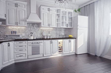 eclecticism: modern kitchen interior (3D render)