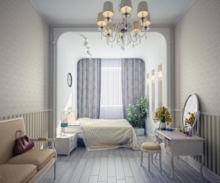 bedroom bed: modern luxury bedroom interior (3D rendering)  Stock Photo