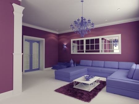modern living room: cartoon-style modern living room interior (computer generated image)