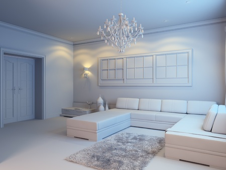 modern living room interior in white style photo