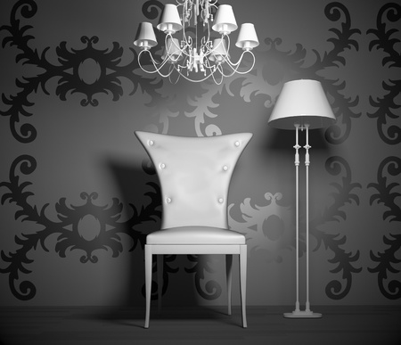 chandeliers: 3D interior scene with vintage chair and lamp.