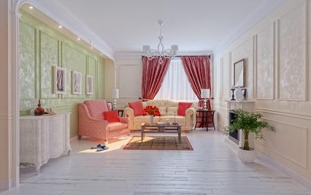 render residence: living-room modern interior (3D rendering) Stock Photo