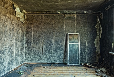 dilapidated wall: old abandoned burned interior photo