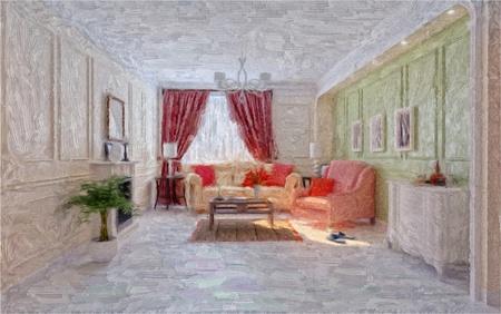 classic living room: living rom interior (oil art technic) illustration  Stock Photo