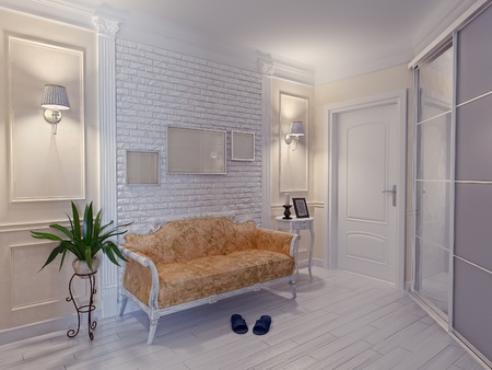 modern apartment hall interior (3D rendering) photo