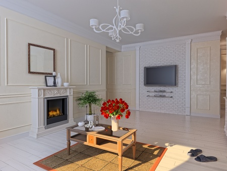 Living room modern interior (3D render) Stock Photo - 10371322