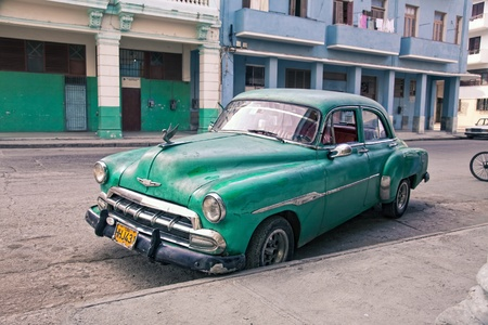 A view of Havana street with classic vintage car, Cuba