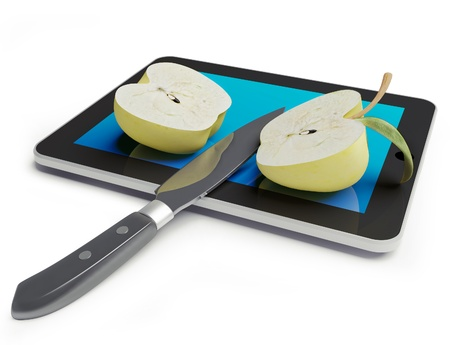 cut the competition: sliced  and apple with a knife on a Tablet PC (3d concept)