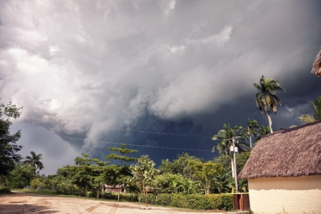 environmental damage: the beginning of thunderstorm in tropical climate ( photo ) Stock Photo