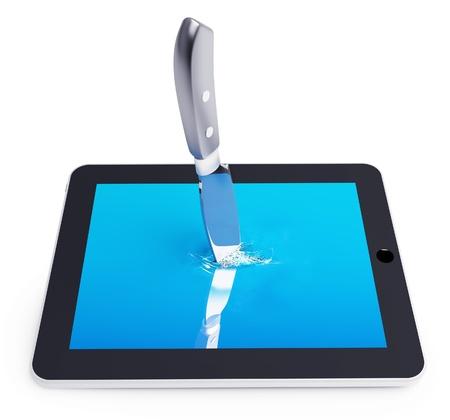 killings: killing of unrecognizable tablet PC (3D concept)