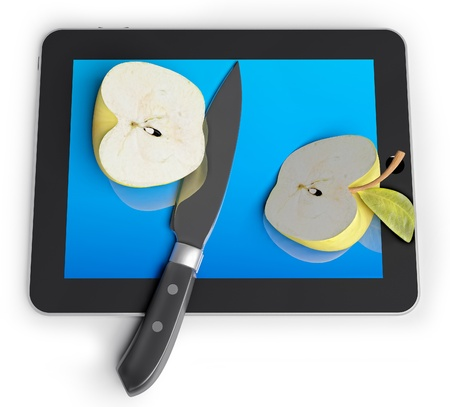 cut the competition: sliced and apple with a knife on a unrecognizable Tablet PC (3d concept)